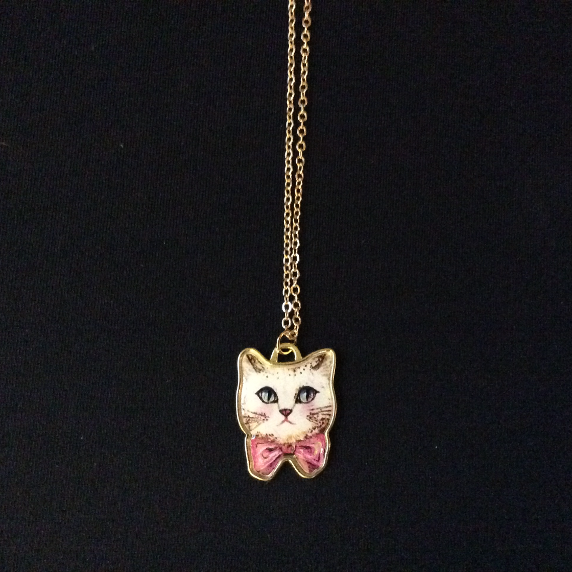 Bowtie Kitty Charm Necklace