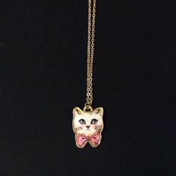 Bowtie Kitty Charm Necklace