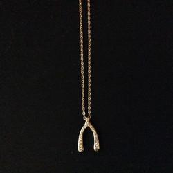 Gold Wishbone Charm Necklace