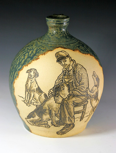 Jug with Incised Man and Dogs