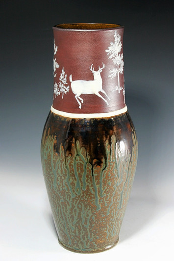 Cameo Deer with Ash Glazes