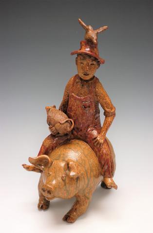 Pig Rider with Bird