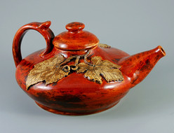 Red Teapot with Leaves