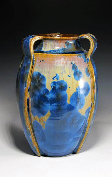 Crystalline Vase with Handles