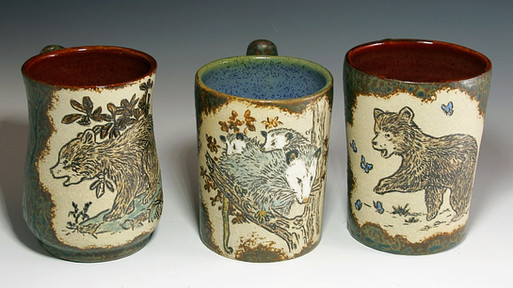 Mugs with Incised Animals