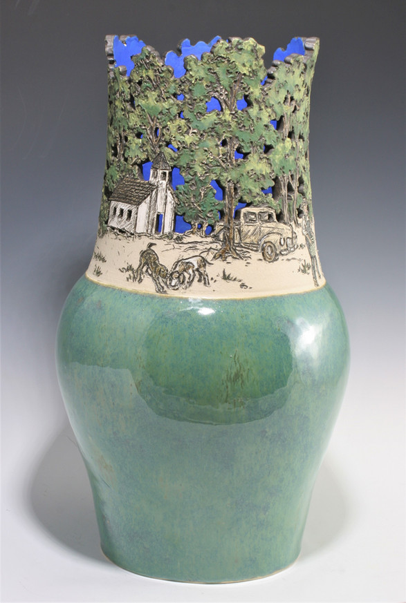 Cut Out Vase with Wood Ash Glazes