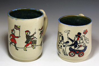 Incised Slip Decorated Mugs