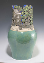 Incised and Cut-Out Country Scene Vase