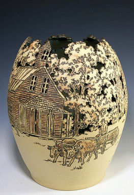 Vase with Incised Country Scene
