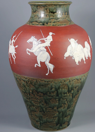 Large Cameo Vase with Native Americans