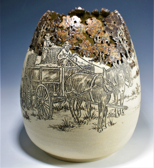 Incised and Cut-Out Vase with Horse and Cart