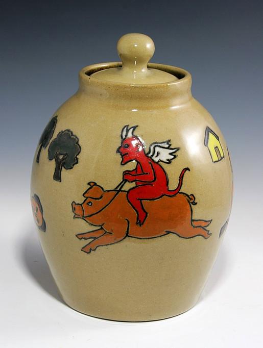 Folk Art Jar with Devil