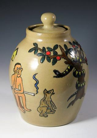 Adam and Eve Lidded Jar