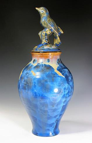 Bird Lidded Crystalline Vase