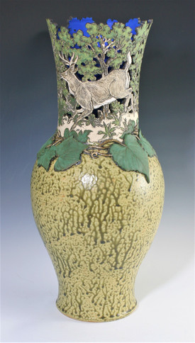 Cut Out Deer and Grapevine Vase