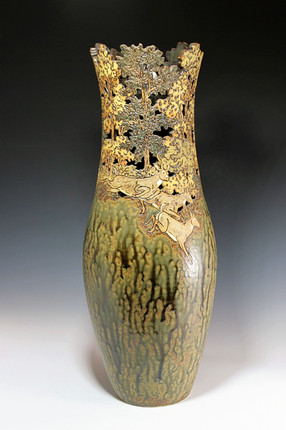 Cut-out and Incised Tall Vase with Deer