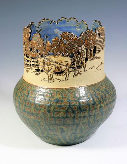 Cut-out and Incised Vase with Plow Scene
