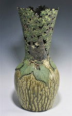 Incised and Cut-Out Bear Vase with Wood Ash Glazes