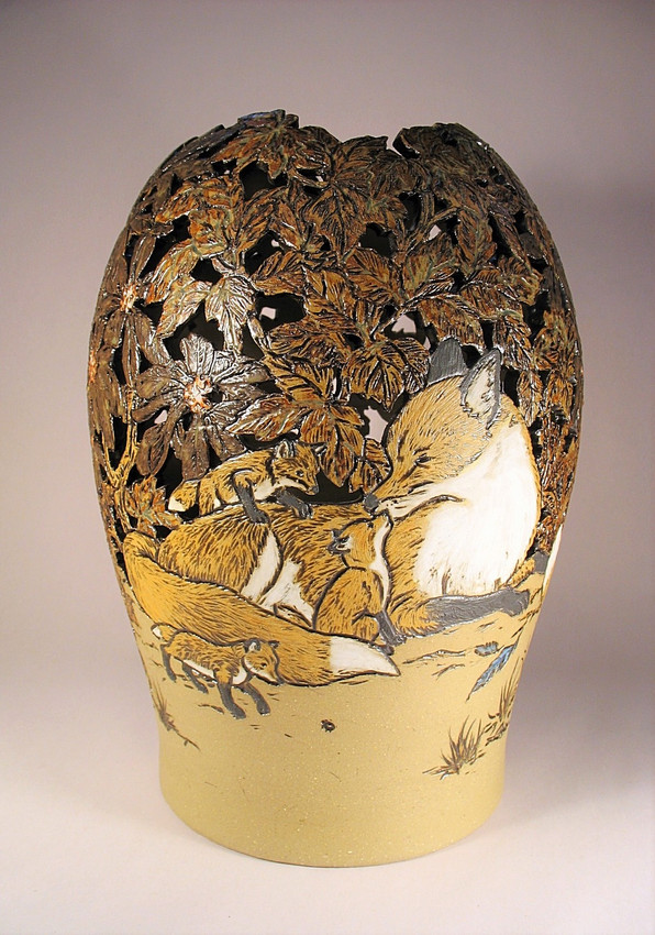Red Fox Cut-out Vase