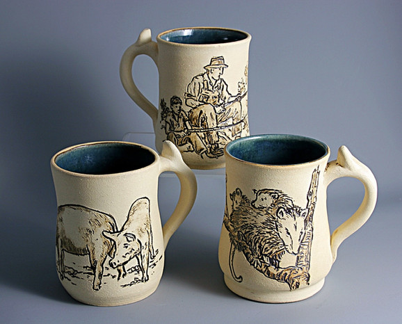 Mugs with Incised Scenes