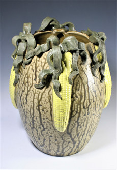 Sculpted Vase with Corn