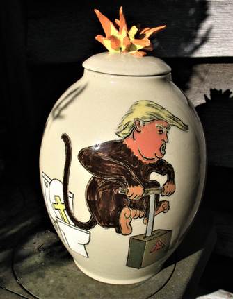 Incised and Sculpted Political Vase