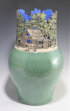 Cut Out Rim Vase with Country Scene