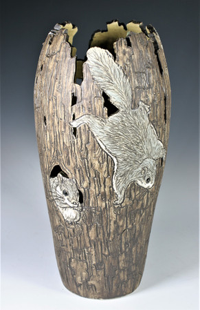 Incised, Cut-Out Vase with Flying Squirrels