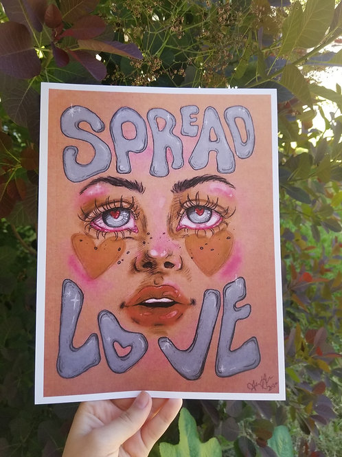 Spread Love (blue version) Print