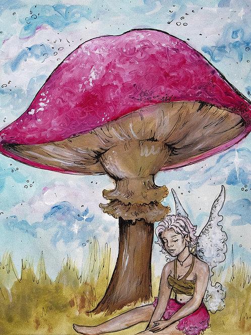 Fairy and her Mushroom print
