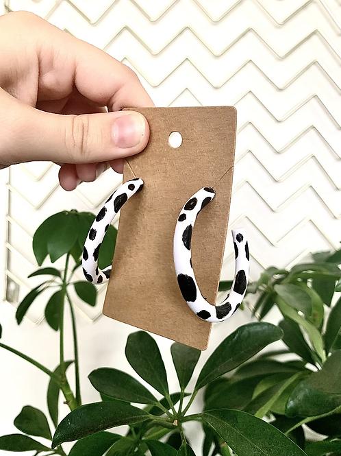 Cow Print Hoops
