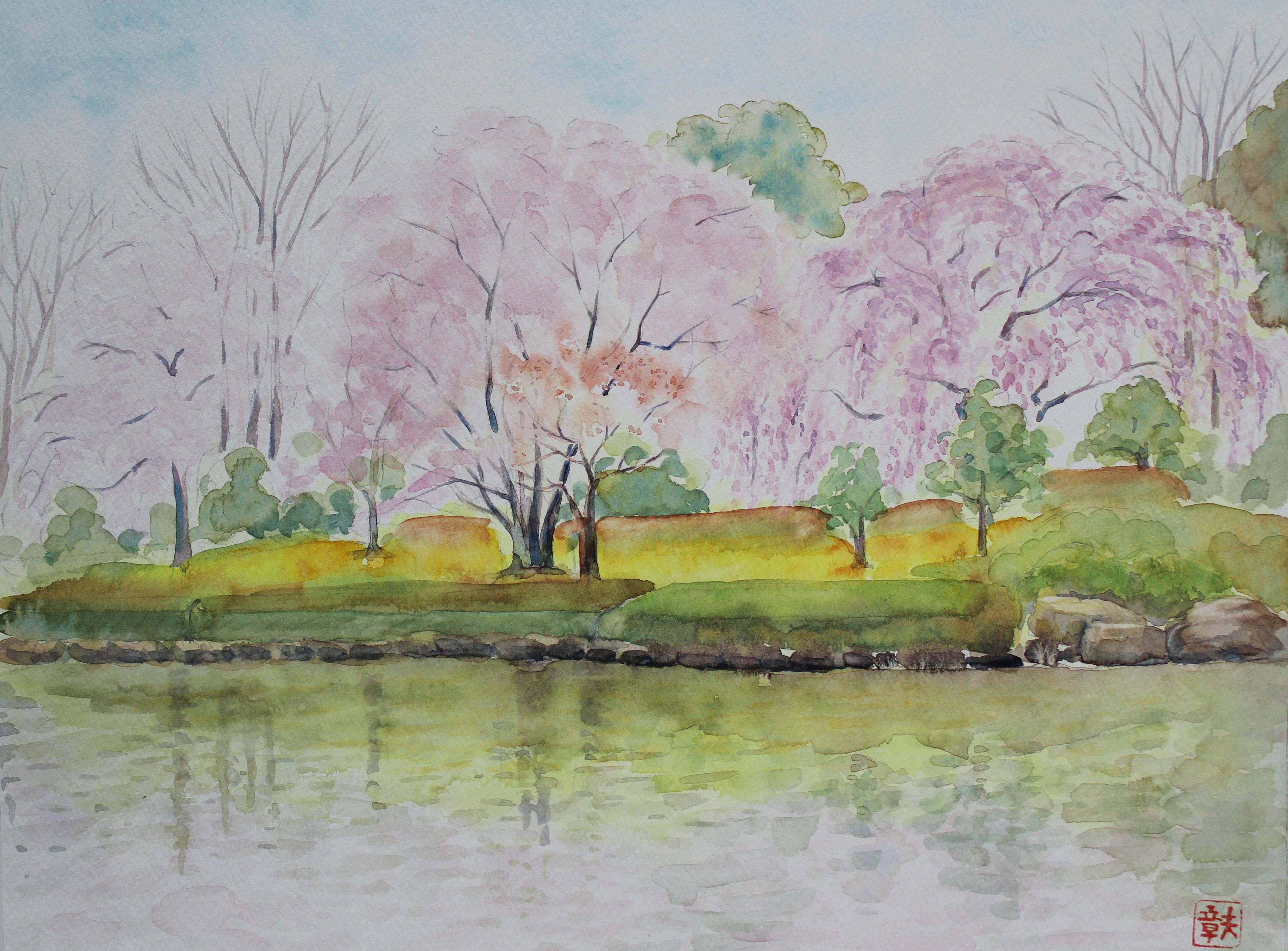 F6号 桜と池