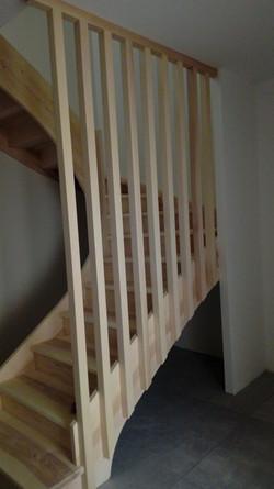 Escalier double quart tournant en frène