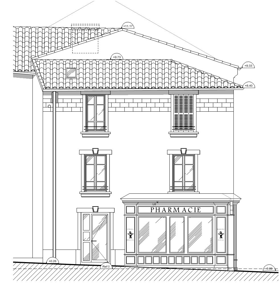 Pharmacie - Projet façade Nord