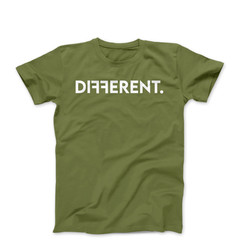 """Army Green Unisex """"Different"""" T-Shirt"""