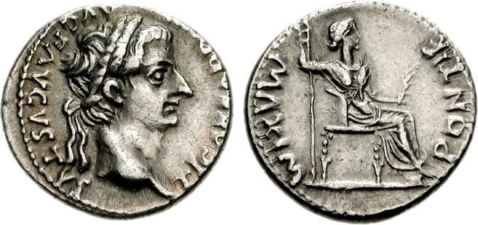 A silver denarius of the emperor Tiberias