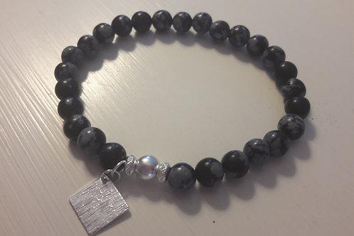 Bracelet en Obsidienne Flocon de neige, Argent 925 (6mm)