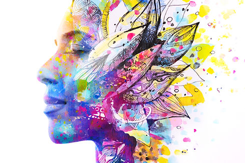 Paintography. Double exposure of woman's profile dissolving into bright colorful leaf draw