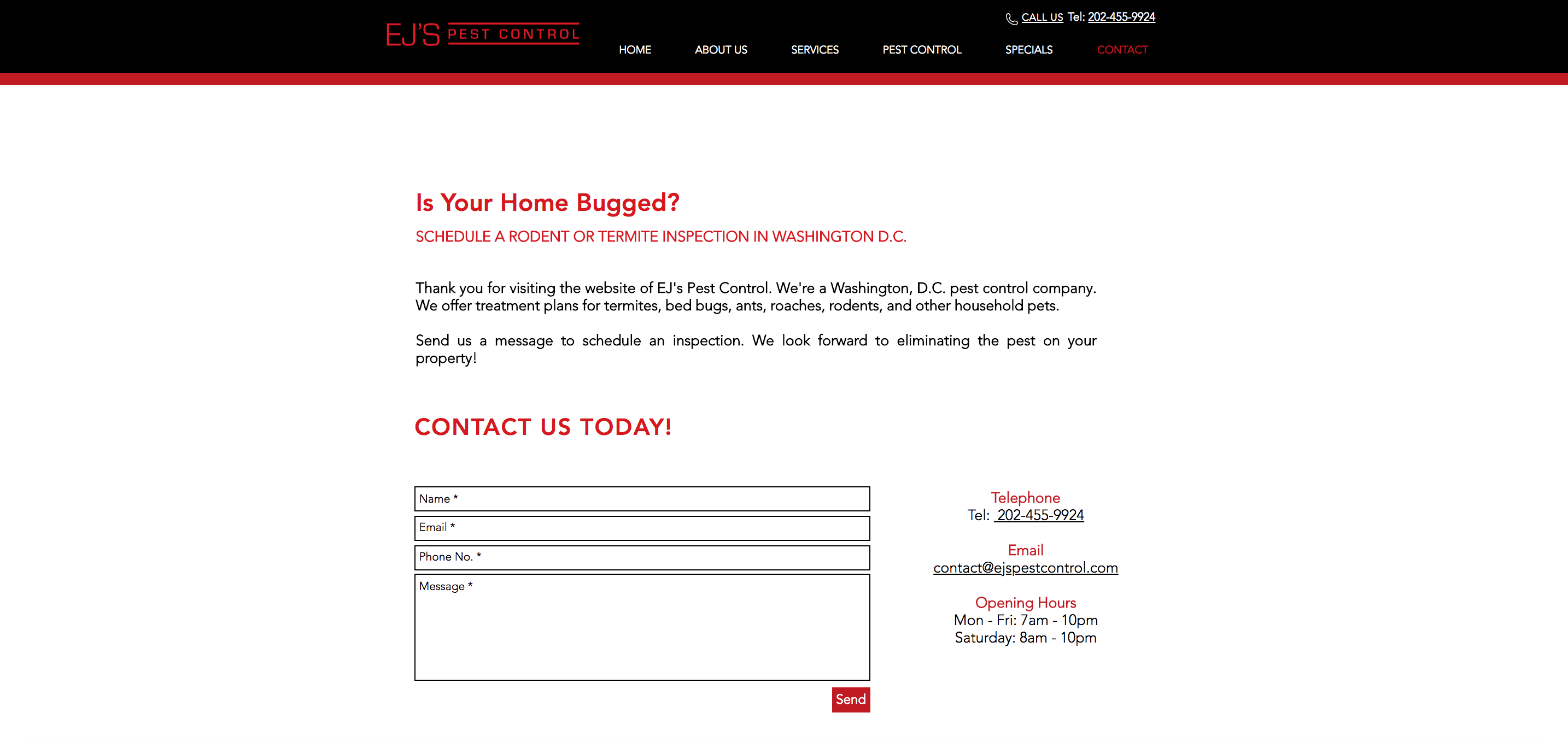 EJ's Pest Control Website Design