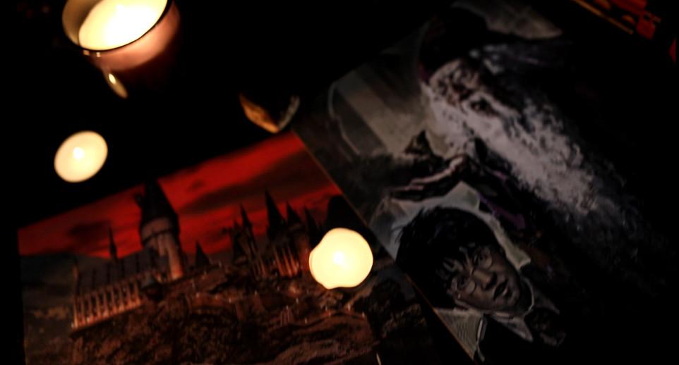 Décoration pottérienne (le château de Poudlard à gauche, Harry Potter au milieu, Albus Dumbledore à droite)