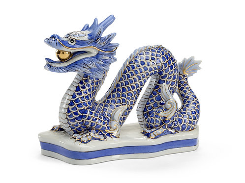 Blue and White Dragon with Gold Ball
