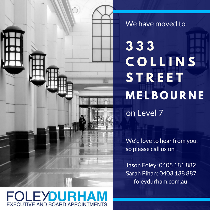 We have moved to Level 7, 333 Collins Street, Melbourne.