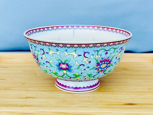 3 Wick Candle in Turquoise Chinese Bowl