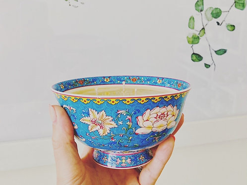 3 Wick Candle in Blue Lotus bowl