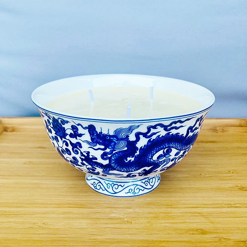 3 Wick Candle in Blue and White Chinese Bowl