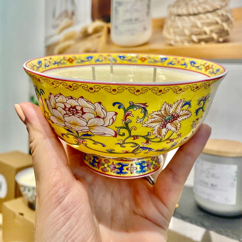 3 Wick Candle Bowl with Yellow Lotus
