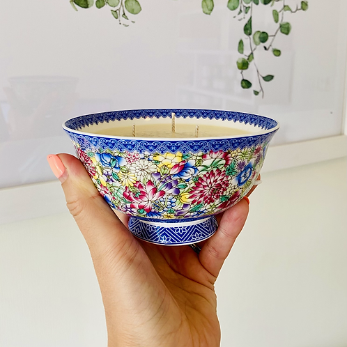 3 Wick Candle in Colourful Florals Bowl