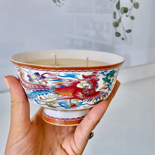 White bowl with pink peacock