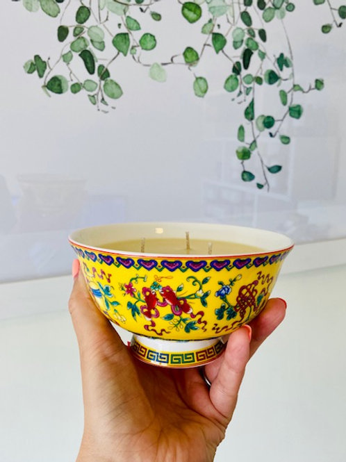 3 Wick Candle in Vibrant Yellow Goldfish bowl
