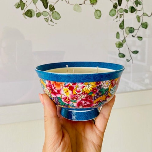 3 Wick Candle in Multi Florals and Blue Rim Bowl